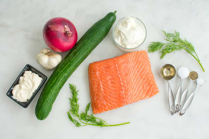Grilled Salmon with Creamy Cucumber-Dill Salad Ingredients