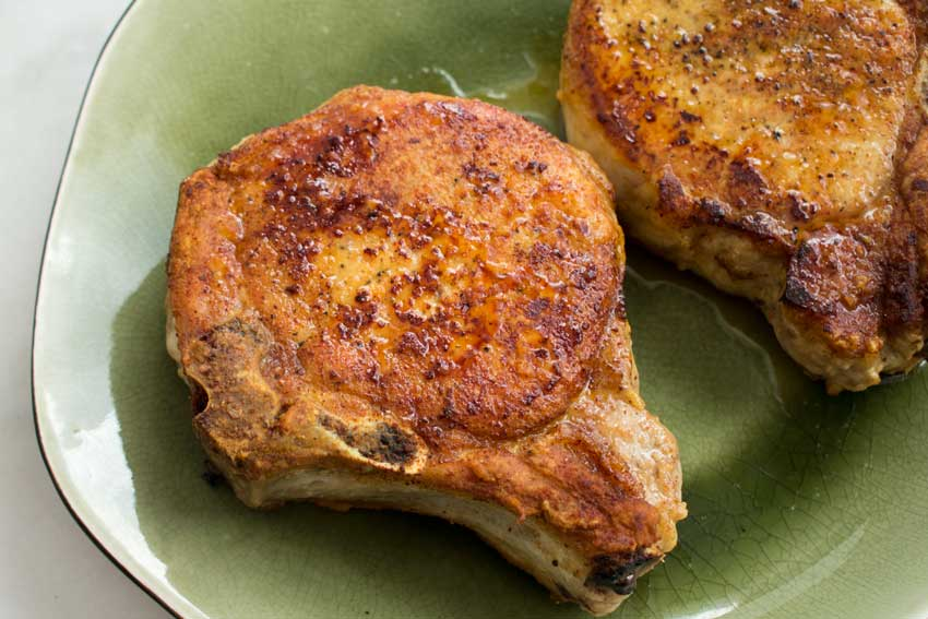 Browned pork chops