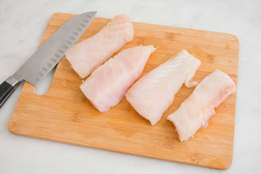 Grouper fillet cut into individual servings