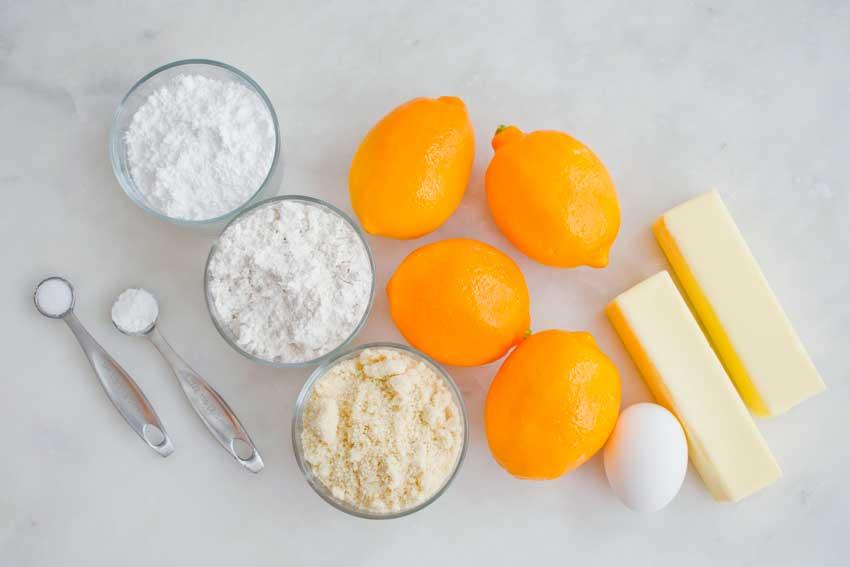 Meyer Lemon Greek Butter Cookies (Kourabiedes) Ingredients