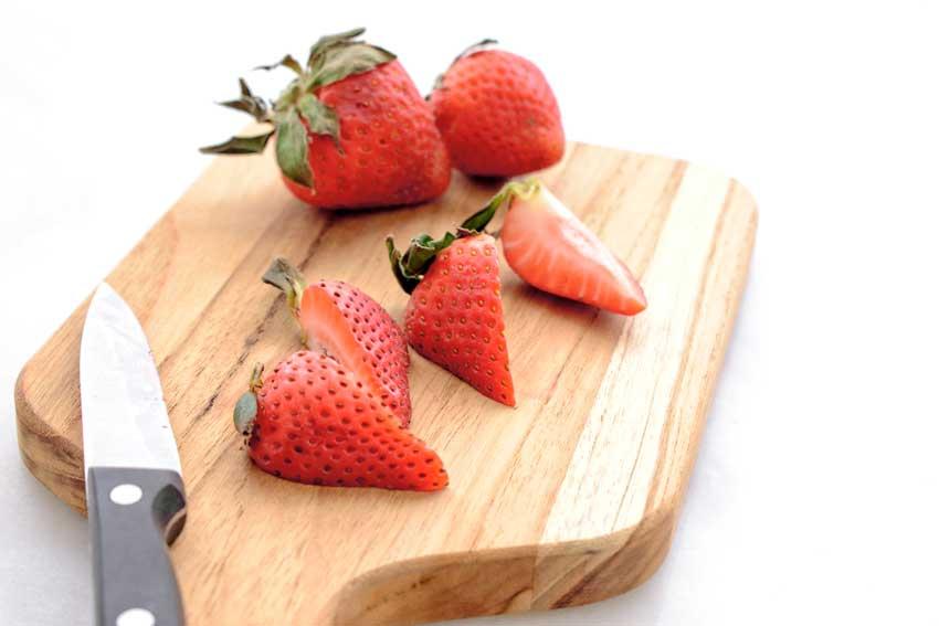 Quartering the strawberries