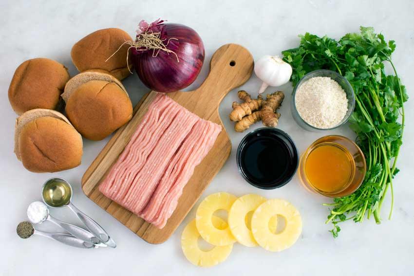 Teriyaki Burgers with Grilled Pineapple Ingredients