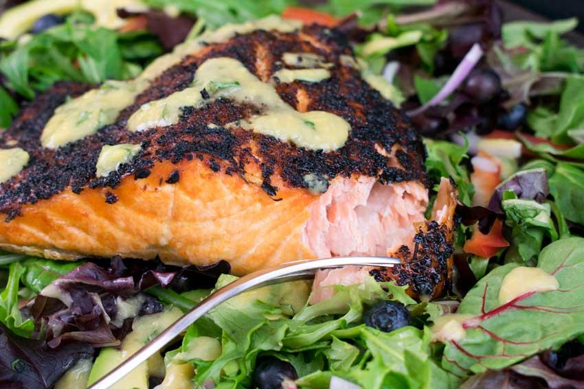 Crispy Jamaican Jerk Salmon with Mango-Basil Vinaigrette