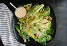 Tahini Caesar Salad with Olive Oil Breadcrumbs
