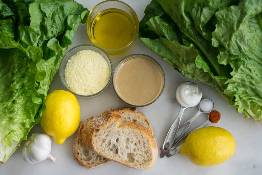 Tahini Caesar Salad with Olive Oil Breadcrumbs Ingredients