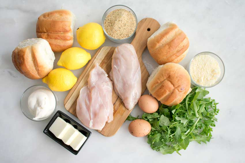 Chicken Cutlet with Lemon Mayonnaise and Arugula Sandwich Ingredients