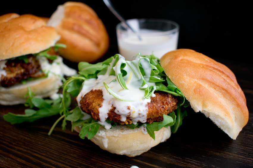 Chicken Cutlet with Lemon Mayonnaise and Arugula Sandwich