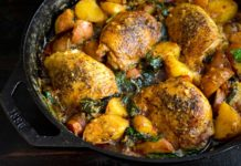 One Pan Chicken and Potatoes with Garlic Parmesan Spinach Cream Sauce
