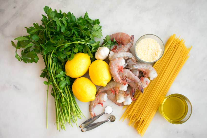 Lemon Spaghetti with Shrimp Ingredients
