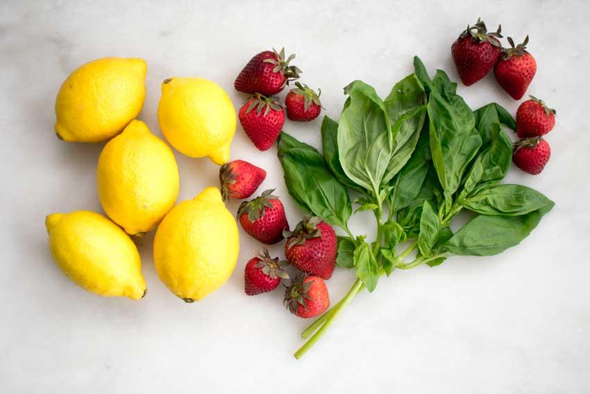 Strawberry Basil Lemonade Ingredients