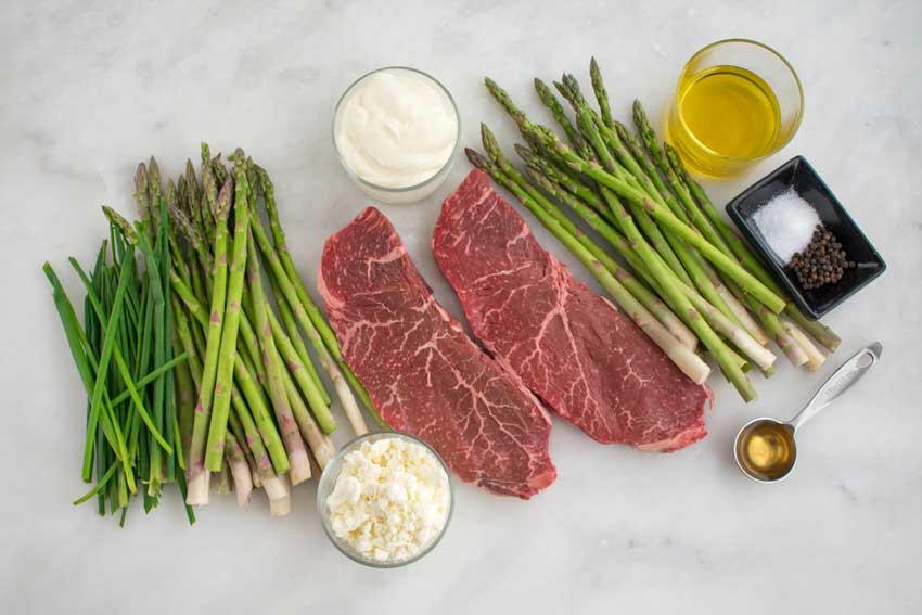 Broiled Steak & Asparagus with Feta Cream Sauce Ingredients