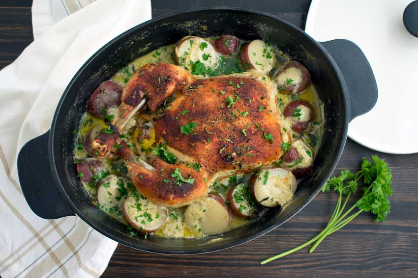 Creamy Lemon and Herb Pot Roasted Chicken
