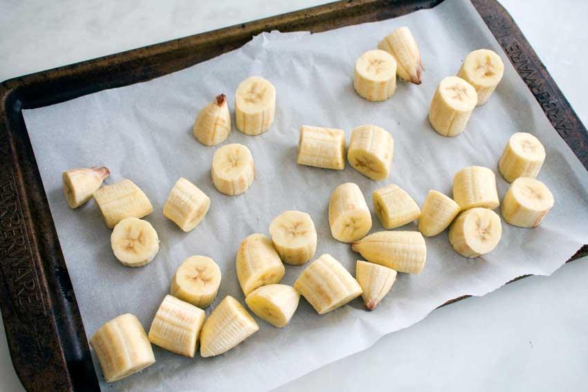 Frozen pieces of banana