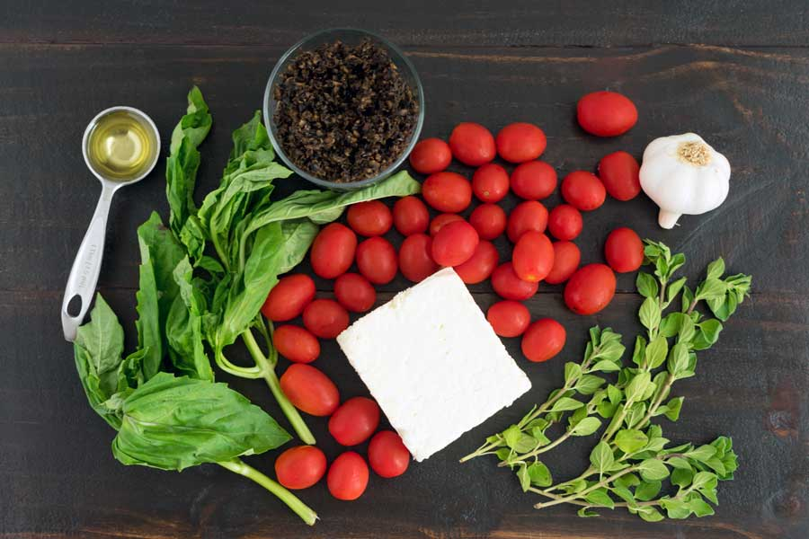 Baked Feta with Cherry Tomatoes and Fresh Herbs Ingredients