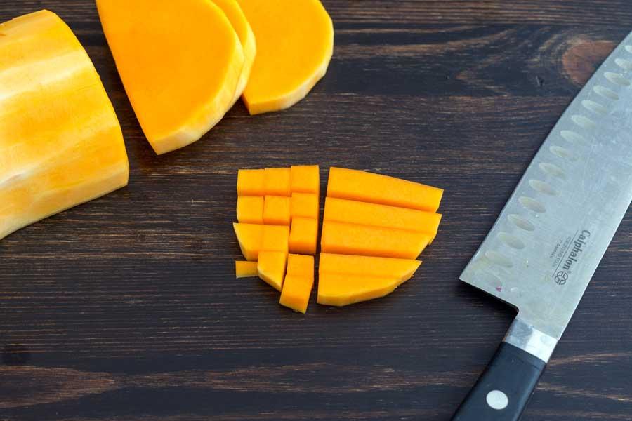 Dicing the butternut squash