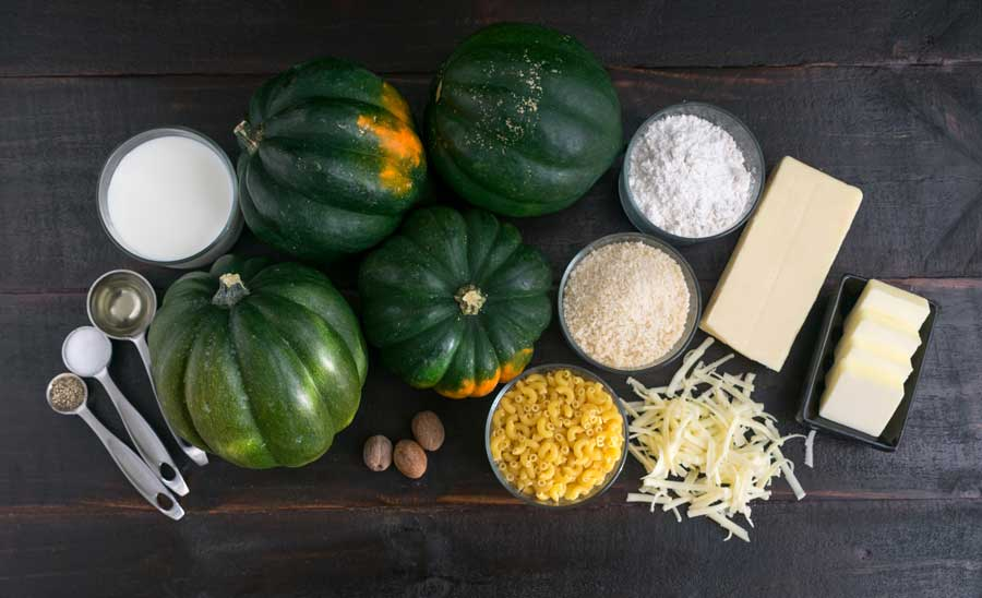 White Cheddar Mac n' Cheese Stuffed Squash Ingredients