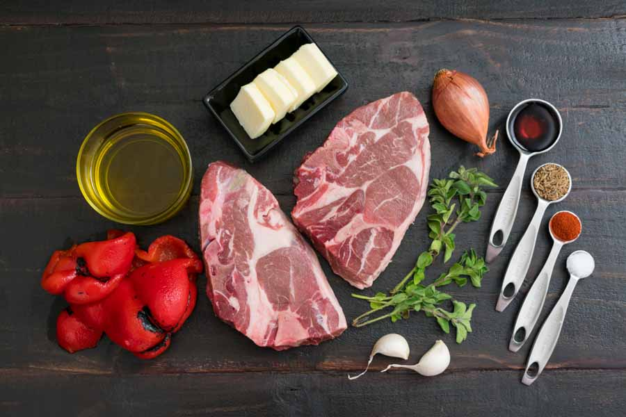 Lamb Shoulder Chops with Smoky Red Pepper-Shallot Butter Ingredients