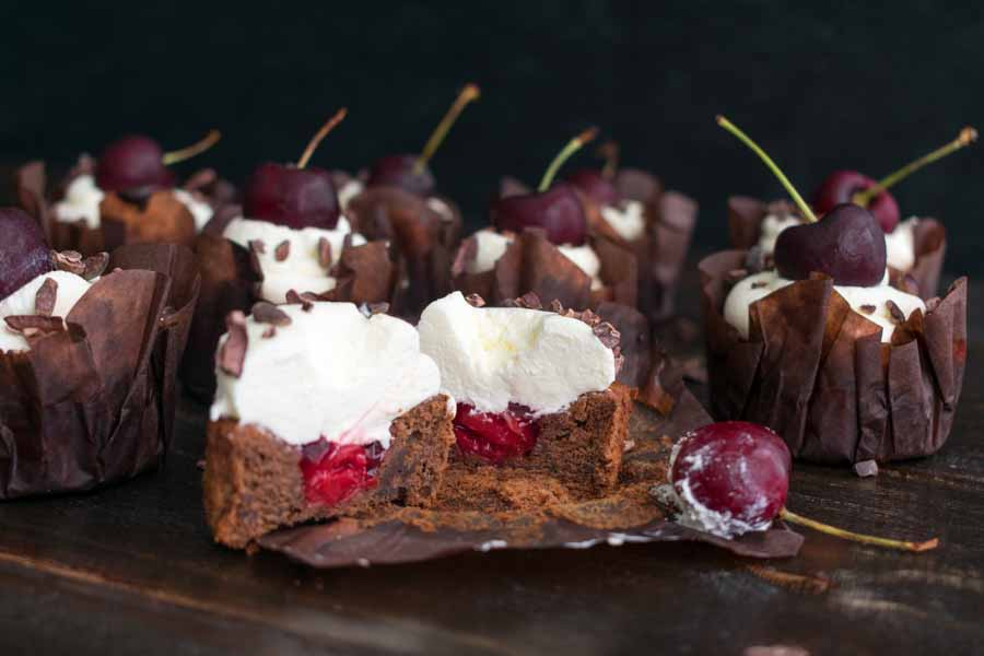 Black forest cupcake with cherry filling