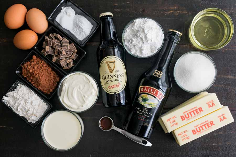 Guinness Chocolate Cake with Irish Buttercream Ingredients