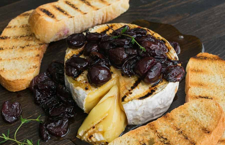 Honey Thyme and Sweet Cherry Grilled Brie
