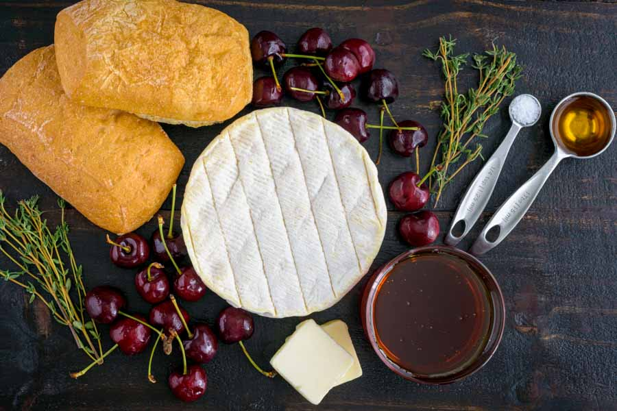 Honey Thyme and Sweet Cherry Grilled Brie Ingredients