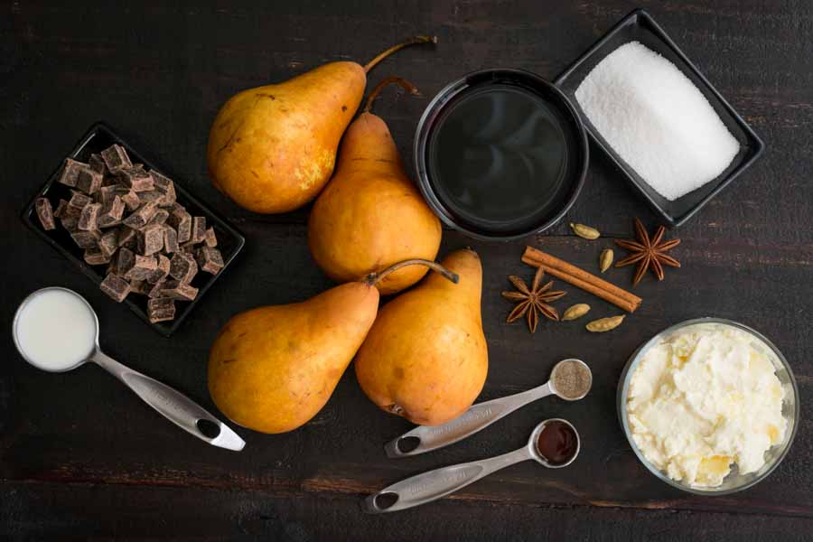 Red Wine Poached Pears with Chocolate & Cardamom Ingredients