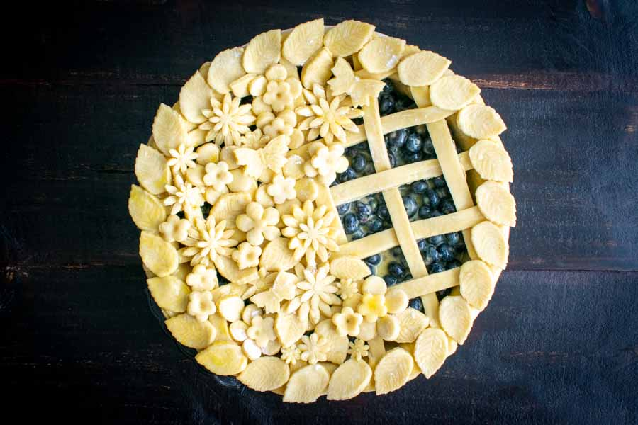 The decorated pie before brushing it with the egg wash and baking