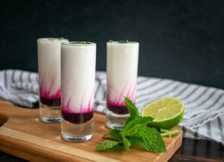Coconut Lime Mojito Shooters with Blueberry