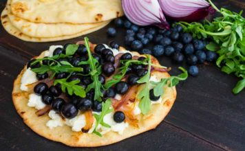 Blueberry, Feta and Honey-Caramelized Onion Naan Pizza