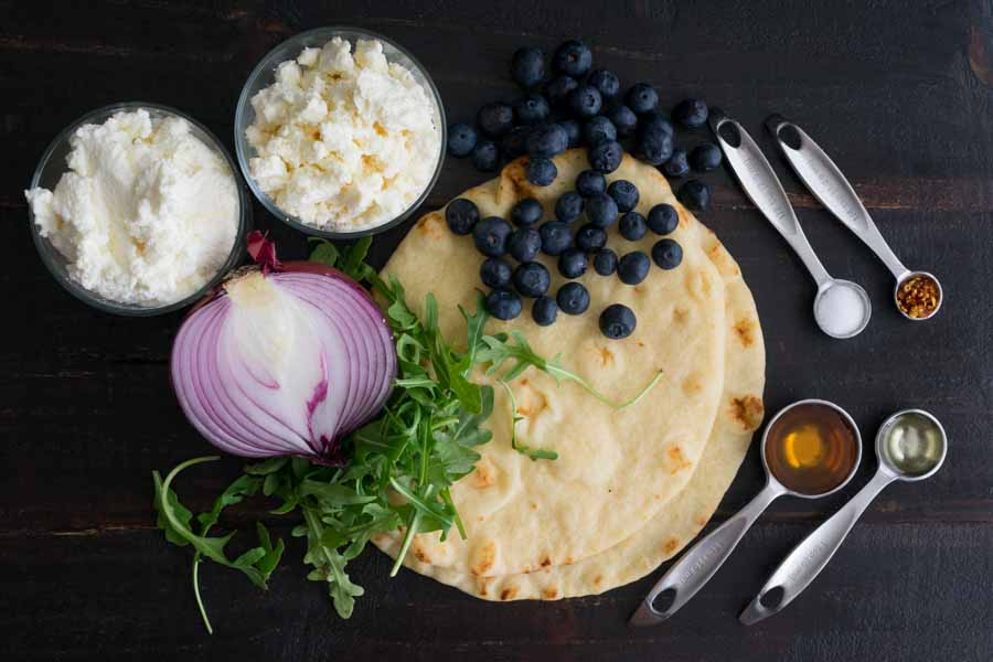 Blueberry, Feta and Honey-Caramelized Onion Naan Pizza Ingredients