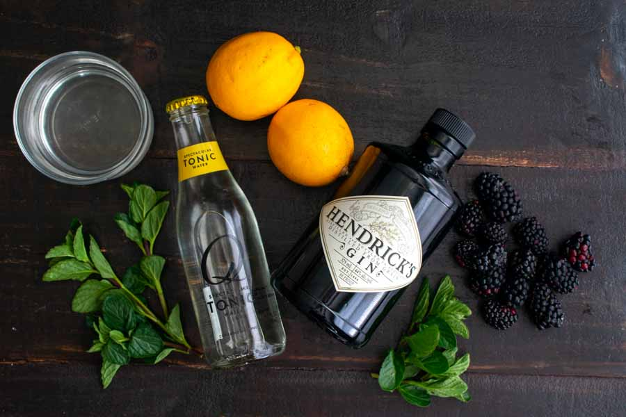 Blackberry and Meyer Lemon Gin and Tonics Ingredients