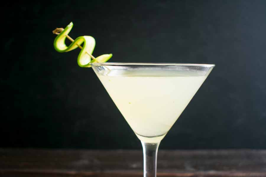 Cucumber Mint Martini with Cucumber Garnish