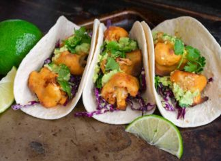 Buffalo Cauliflower Tacos with Avocado Crema