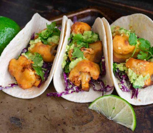 Buffalo Cauliflower Tacos with Avocado Crema