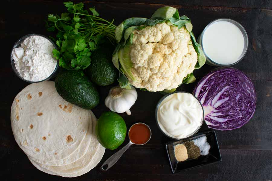 Buffalo Cauliflower Tacos with Avocado Crema Ingredients