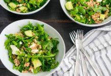 Lemony Arugula Salad with Couscous, Cucumbers and Feta