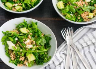 Lemony Arugula Salad with Couscous, Cucumbers and Feta