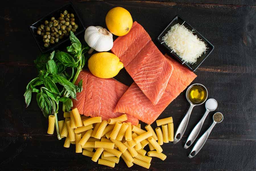 Light Lemon Garlic Pasta with Salmon Ingredients