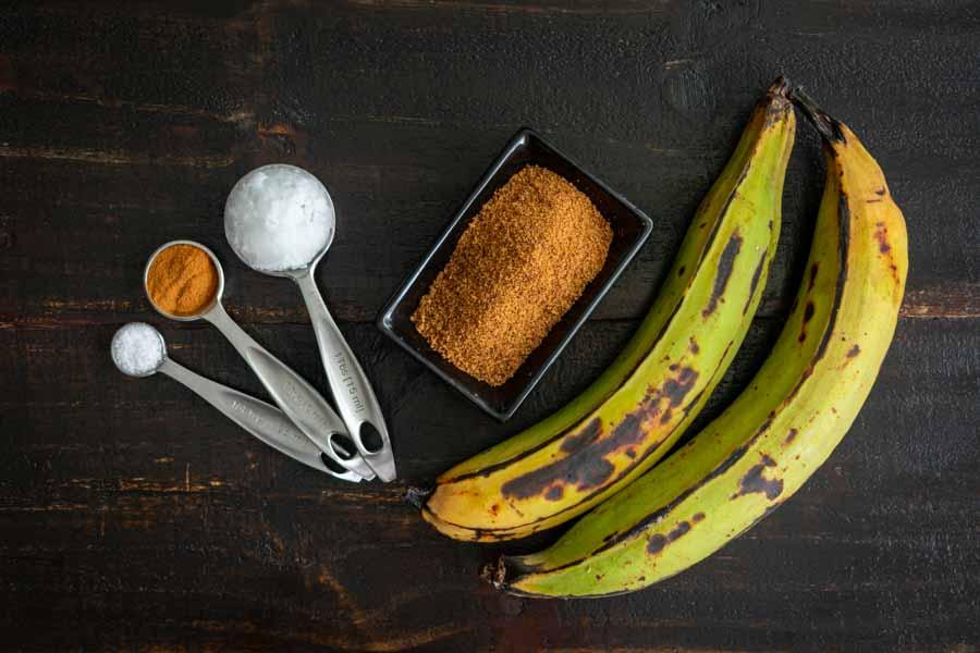 Sweet Caramel Cinnamon Baked Plantains Ingredients