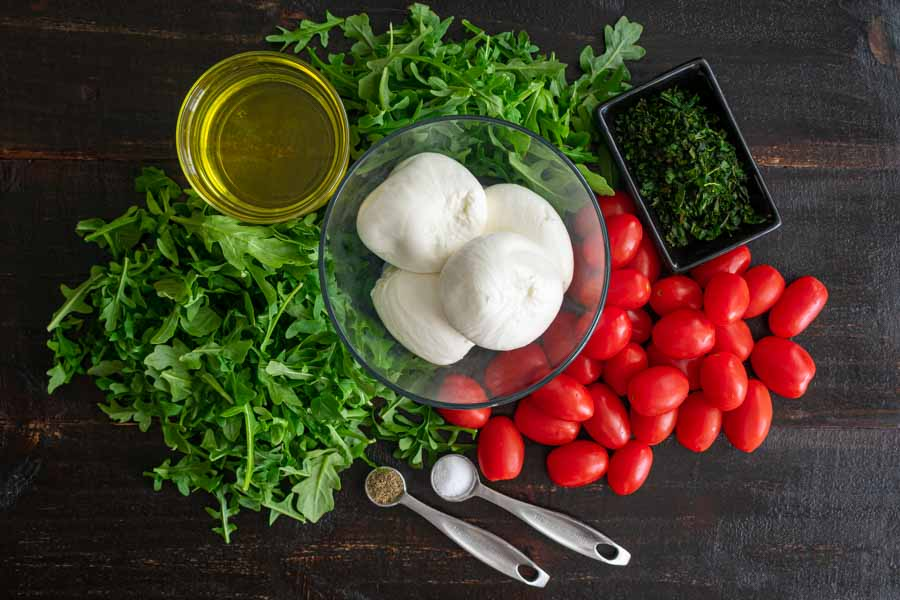Arugula with Slow-Roasted Cherry Tomatoes and Burrata Ingredients
