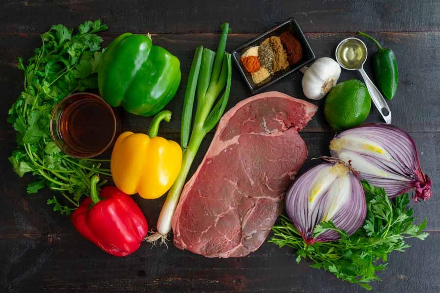 Steak Fajita Skewers with Cilantro Chimichurri Ingredients