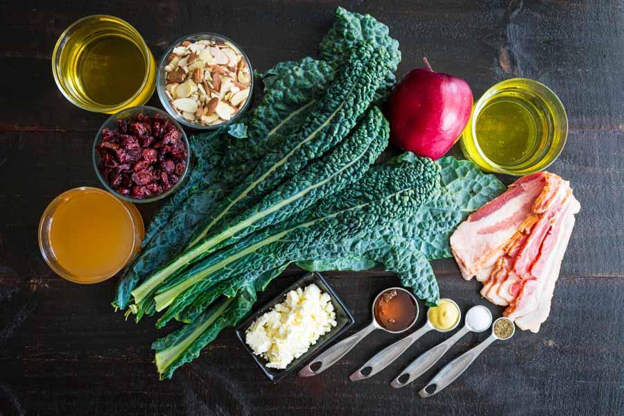 Apple Cranberry Bacon Kale Salad Ingredients