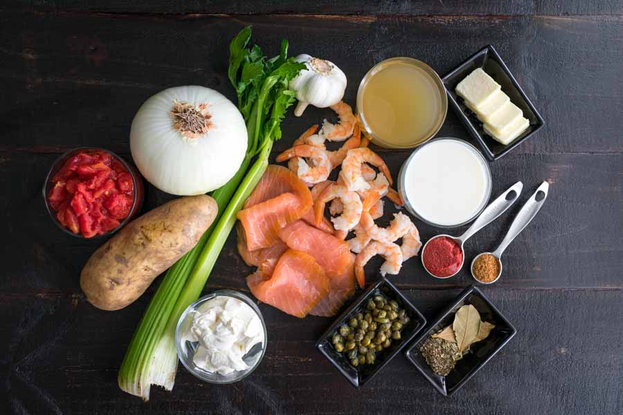 Seattle-Style Smoked Salmon Chowder Ingredients