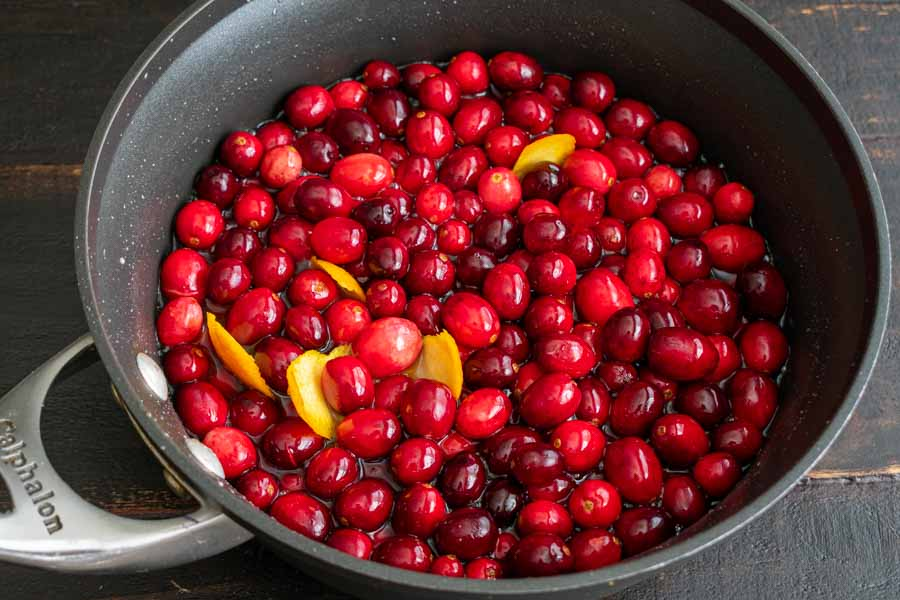 Cranberry sauce ingredients in a pan