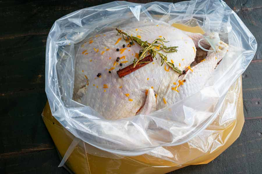 Turkey in a brining bag
