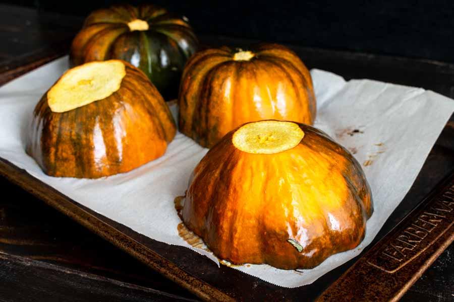 Roasted acorn squash halves