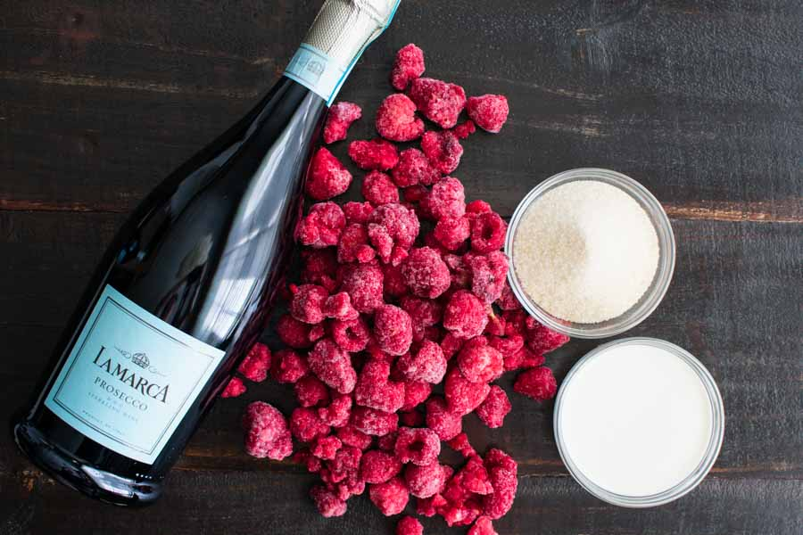 Raspberry Mimosa Cocktail Process Ingredients