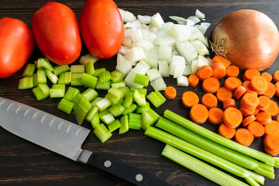 Chopping the vegetables