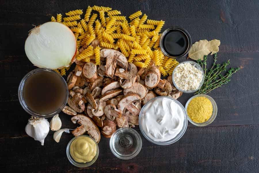 One-Pot Vegan Mushroom Stroganoff Ingredients