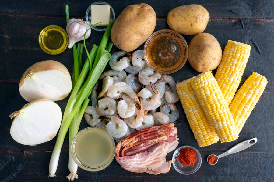 Sweet Corn, Peppered Bacon and Shrimp Chowder Ingredients